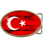 Turkey Grunge Turkish Flag Belt Buckle. Code A0035